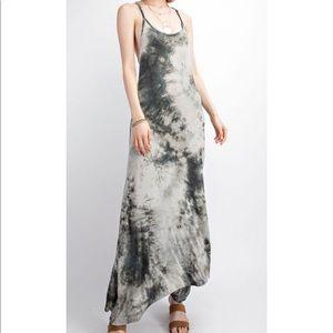 Crochet Back Tie Dye Maxi Knit Dress - Wormwood